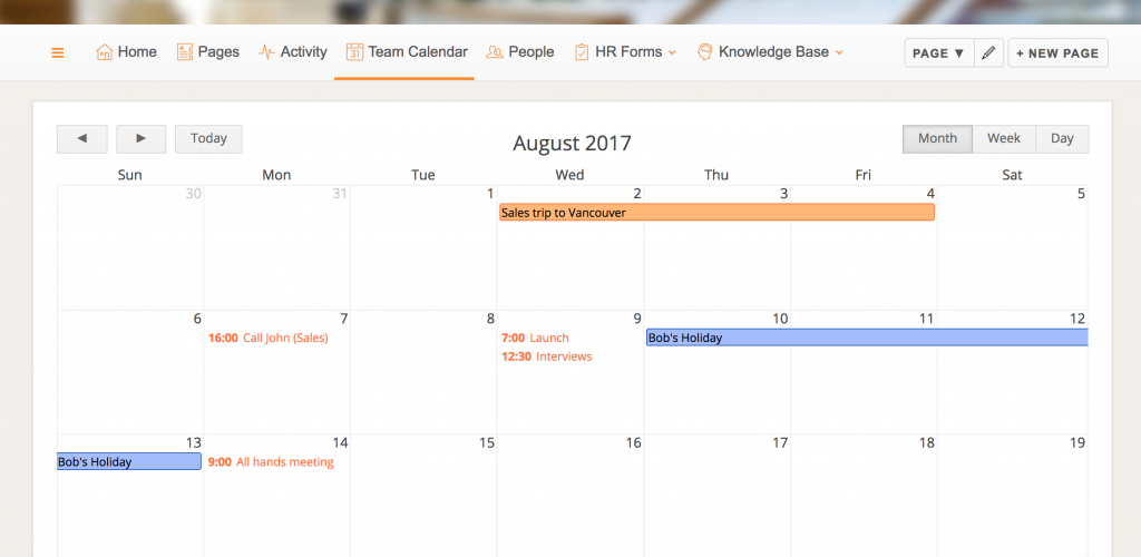 Calendar on Papyrs intranet page