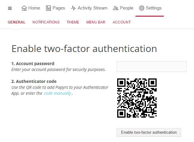 Two-Factor Authentication Scan QR code
